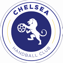 Logo of chelsea handball club. Blue circle with Lion in the middle